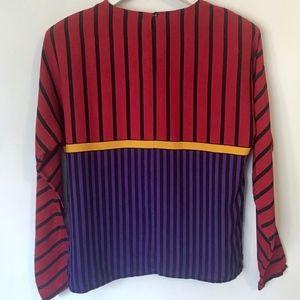 Tops - 100% Silk Stripe Blouse